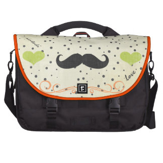 Personalized Lime Vintage Modern Mustache Heart Commuter Bag