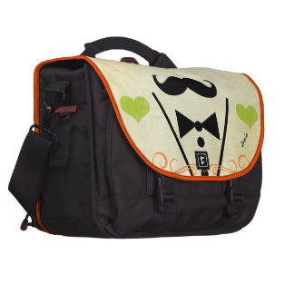 Personalized Lime Vintage Modern Mustache Heart Commuter Bags