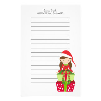 Personalized Lined Christmas Elf and Presents Stationery