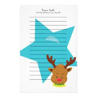 Personalized Lined Christmas Reindeer Blue Star Stationery