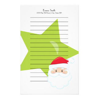 Personalized Lined Christmas Santa Green Star Stationery