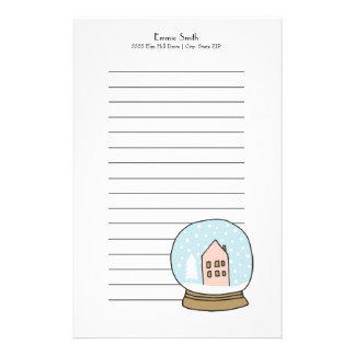 Personalized Lined Christmas Snow Globe Stationery