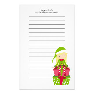 Personalized Lined Girl Christmas Elf and Presents Stationery