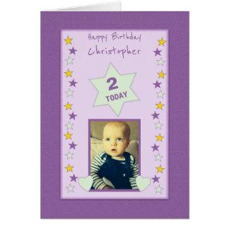 Personalized little boy Birthday photo Card