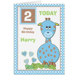 Personalized little boy giraffe birthday card