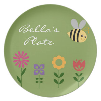 Personalized Little Girl Flowers and Bee Plate