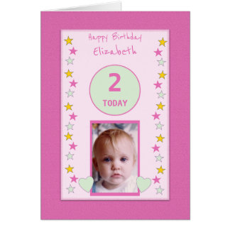 Personalized little girl pink Birthday photo Card