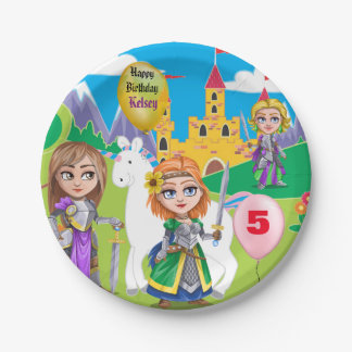 Personalized Little Girl's Kingdom Birthday 7 Inch Paper Plate