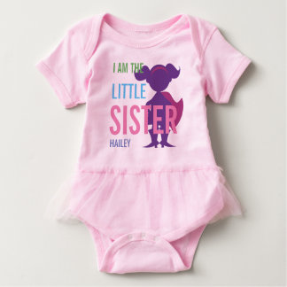 Personalized little sister superhero silhouette baby bodysuit