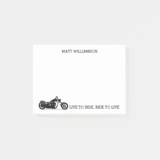 Personalized Live to Ride, Ride to Live Motorcycle Post-it Notes