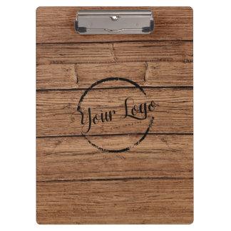 Personalized logo cedar woodgrain clipboard