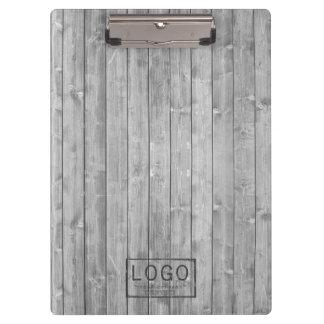 Personalized logo on grey wood boards clipboard