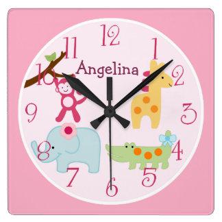 Personalized Lollipop Jungle Animals Nursery Clock