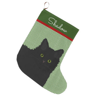 Personalized Long Hair Black Cat Large Christmas Stocking