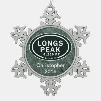 Personalized Longs Peak Colorado Rocky Mountain Snowflake Pewter Christmas Ornament