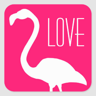 Personalized Love Bright Pink and White Flamingo Square Sticker
