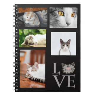 Personalized, Love, Gray Cat Face Notebook
