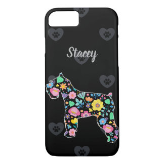 Personalized Love My Schnauzer floral design iPhone 8/7 Case