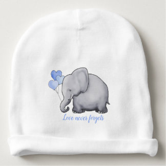 "Personalized ""Love Never Forgets"" Cute Elephants Baby Beanie"