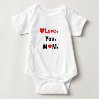 Personalized love you mom best mom ever hearts baby bodysuit