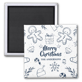 Personalized Lovely Christmas Sketch | Magnet
