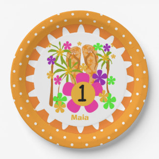 Personalized Luau 1st Happy Birthday Paper Plates