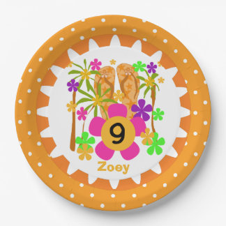 Personalized Luau 9th Birthday Paper Plates 9 Inch Paper Plate