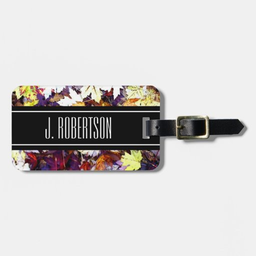 Personalized luggage tag | Colorful fall leaf art