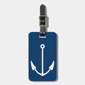 Personalized luggage tags with nautical anchor