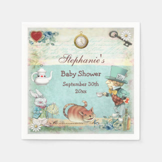 Personalized Mad Hatter Baby Shower Disposable Serviette