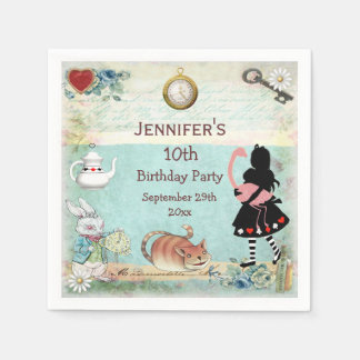 Personalized Mad Hatter Birthday Party Disposable Napkin