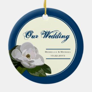 Personalized Magnolia Flower Wedding Blue Round Ceramic Decoration