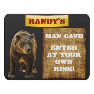 """Personalized """"Man Cave"""" with Grizzly Bear Door Sign"""