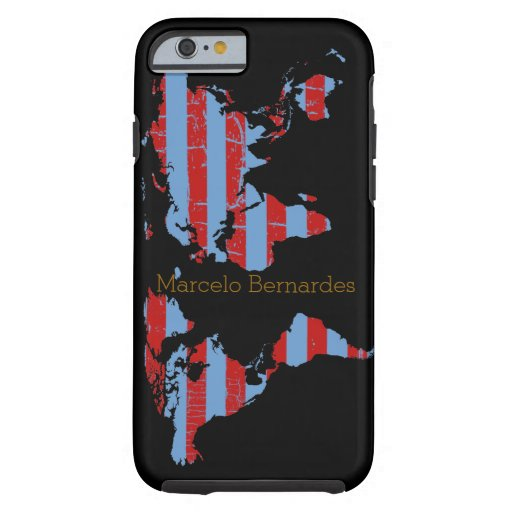 personalized map of world & stripes tough iPhone 6 case