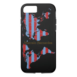 personalized map of world & stripes iPhone 7 case