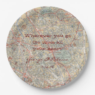 Personalized Map Plates 9 Inch Paper Plate