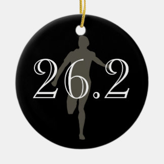 Personalized Marathon Runner 26.2 Keepsake Black Ceramic Ornament