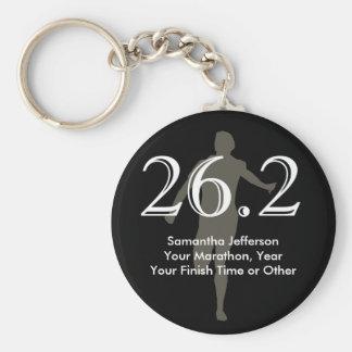 Personalized Marathon Runner 26.2 Keepsake Black Key Ring