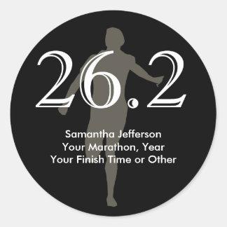 Personalized Marathon Runner 26.2 Keepsake Black Round Sticker