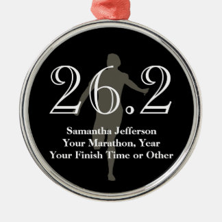 Personalized Marathon Runner 26.2 Keepsake Medal Silver-Colored Round Decoration