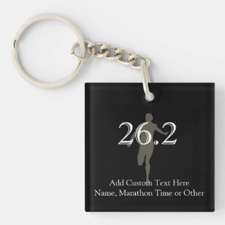 Personalized Marathon Runner 26.2 Keepsake Single-Sided Square Acrylic Key Ring