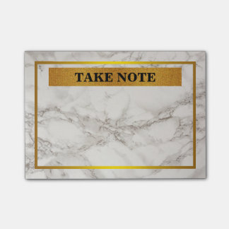 Personalized Marble Take Note with gold border Post-it® Notes