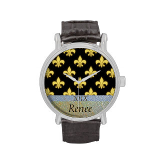 Personalized Mardi Gras NOLA Fleur de Lis Black Wristwatches