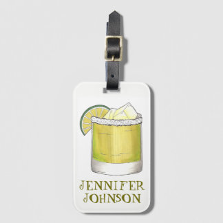 Personalized Margarita Cocktail Foodie Mixed Drink Luggage Tag