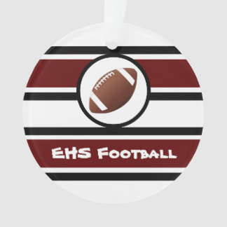 Personalized Maroon and Black Football Ornament