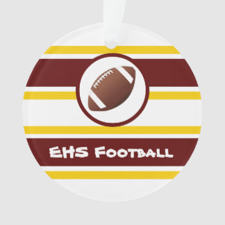 Personalized Maroon and Gold Football Ornament