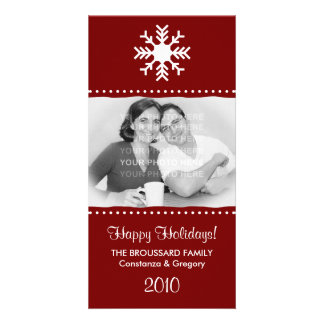 Personalized Maroon Snowflake Holiday Photo Cards