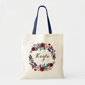 Personalized Marsala Navy Floral Tote Bag
