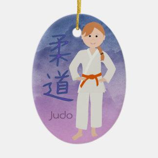 Personalized Martial Arts Redhead Orange Belt Ceramic Ornament