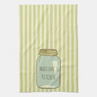 Personalized Mason Jar Kitchen Towel Pale Stripes